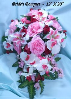 Silk Wedding Flowers build your own package featuring large bouquets that look great in photographs. Browse my shop for all the extras !!