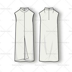 Women's Sleeveless Mock Neck Dress Fashion Flat Template