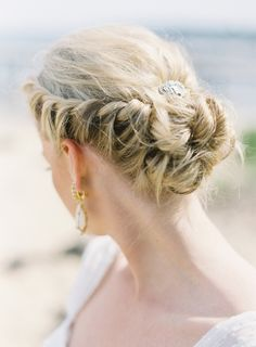 Bridal hair. Wedding hair. french plaited up do. Messy bun. Lose plait. Beach wedding hair. Summer bridal hair.