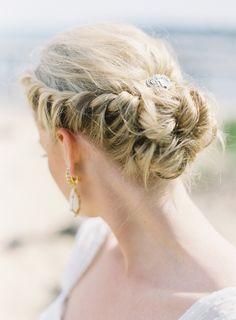 Bridal hair. Wedding hair. french plaited up do. Messy bun. Lose plait. Beach wedding hair. Summer bridal hair.