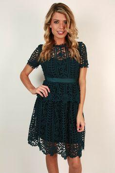 Primrose Party Crochet Dress in Dark Teal