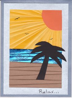 Sunset iris folding handmade card by artist, Melanie Blystra