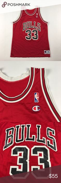 Vintage XL Champion Chicago Bulls Pippen Jersey Minor cracking on the back numbers Champion Shirts