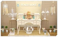 What a gorgeous dessert table at a bohemian shabby chic wedding party! See more party planning ideas at CatchMyParty.com!