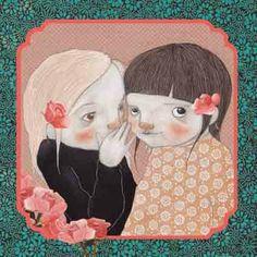 Els secrets a cau d'orella,  els murmuris sota veu,  creen llaços d'amistat.  (il·lustració de Lauranne Quentric)