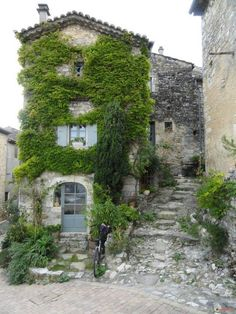 Old stone buildings covered in greenery.
