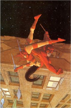 Daredevil and Elektra by Frank Quitely from Marvel Portraits of a Universe Fantasy Comics, Geek Art, Comic Art, Marvel Comic Character, Daredevil Art, Marvel Comics Art, Cartoons Comics