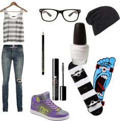 """Chica skater"" by nicolepalomino7 ❤ liked on Polyvore"