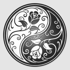 Shop Yin Yang Roses, black Classic Round Sticker created by JeffBartels. Personalize it with photos & text or purchase as is! tattoos deviantart tattoos for men tattoos sleeve Arte Yin Yang, Ying Y Yang, Yin Yang Art, Tatuajes Yin Yang, Yin Yang Tattoos, Tribal Rose, Yin Yang Designs, Marquesan Tattoos, Celtic Tattoos