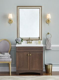 MirrorMate's custom-cut, Kelso Gold-Washed Silver mirror frame was added directly to the on-the-wall, plate glass bathroom mirror- instantly framing the mirror and giving the bathroom a fabulous custom detail!