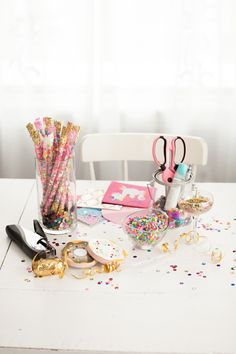 Confetti Work Space  Inspiration!  Also learn how to make these confetti wands.