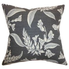 """Cotton pillow with floral motif. Made in the USA.   Product: PillowConstruction Material: Cotton cover and 95/5 down fillColor: GreyFeatures:  Insert includedHidden zipper closureMade in the USA Dimensions: 18"""" x 18""""Cleaning and Care: Spot clean"""