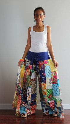 Wide leg pants Boho Patchwork Womens long pants Boho by Nuichan, $58.00