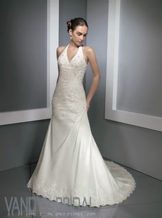 Mermaid Halter Cathedral Train Sleeveless Satin White Wedding Dress with Embroidery (MWG7775) [MWG7775] - US$179.99 :