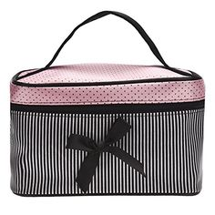 DATEWORK Satin Square Bow Stripe Cosmetic Bag (Black )