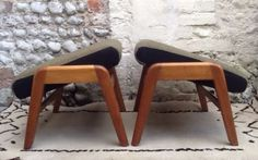 PAIR-RARE-EGOMME-G-PLAN-ADJUSTABLE-FOOT-STOOLS-vintage-50s-mid-century-retro-60s