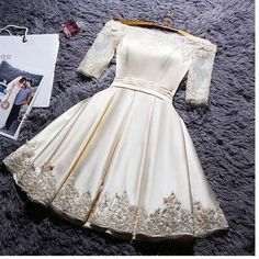 Short Sleeve Party Dresses, White Short Sleeve Homecoming Dresses, Short Prom Dresses, 2017 Homecoming Dress Off-the-shoulder Satin Short Prom Dress Party Dress Hoco Dresses, Prom Dresses With Sleeves, Prom Party Dresses, Occasion Dresses, Pretty Dresses, Beautiful Dresses, Dress Outfits, Evening Dresses, Fashion Dresses