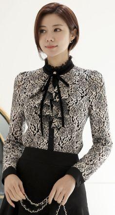 StyleOnme_Brushed Floral Lace Ruffle Blouse #elegant #lace #floral #blouse #ruffle #feminine #koreanfashion #kstyle #kfashion #wintertrend #dailylook