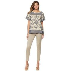 DG2 by Diane Gilman Bandana-Print Top with Flutter Sleeves - Tan