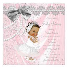 Ethnic Girl Pink Gray Satin Pearl Baby Shower Invitation