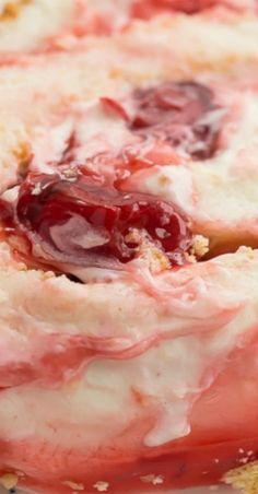 Cherry Cheesecake Angel Food Cake Roll #cherry #cherries #cheesecake #creamcheese #dessert #cake #angelfoodcake #recipe #recipes Homemade Cake Recipes, Best Cake Recipes, Cupcake Recipes, Cupcake Cakes, Cherry Recipes, Fruit Recipes, Dessert Recipes, Cake Frosting Recipe, Desert Recipes