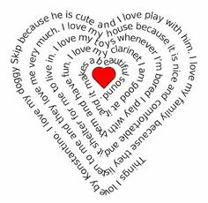Elementary Technology Lessons: Heart Shaped Writing for Valentines