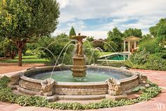 Classical fountain and pavilion at this northern New Mexico estate