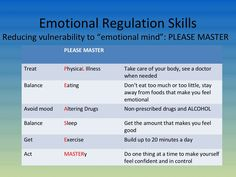 DBT - Emotion Regulation: reduce emotional vulnerability by using the PLEASE MASTER skills #dbt #skills