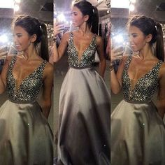 Beading Charming Satin Prom Dress,Beading Evening Dress,Sexy Prom Dress ,A-Line…