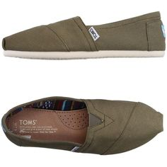 Toms Low-tops & Trainers ($50) ❤ liked on Polyvore featuring shoes, sneakers, military green, toms shoes, low profile shoes, toms sneakers, round toe shoes and olive shoes