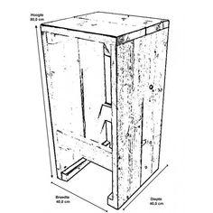 Eenvoudige bouwtekening voor een barkruk van steigerhout of planken van een pallet.