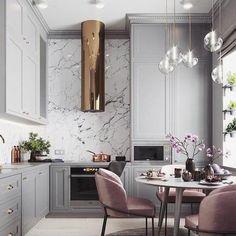 Feminine soft grey, blush and golden copper sakura cherry blossom kitchen