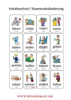Visualise german verbs - Vokalwechsel in der Konjugation am Beispiel von bekannten Verben.