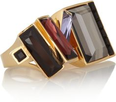 Etro Gray Gold Plated Swarovski Crystal Two Finger Ring