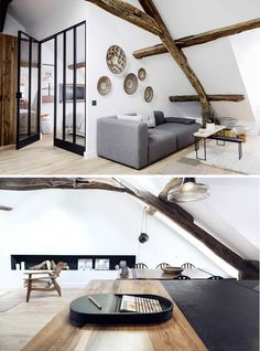 This beautiful home in located in Le Marais in the heart of Paris measures only 40m2 (540 square foot). The apartment belongs to architect Margaux and Thomas, a designer. The builing at the Rue Saint Paul originates from the 18th century and it has beautiful original features (wooden beams) which are mixed with contemporary elements such as the steel glass doors. The combination of old and new is very well executed!