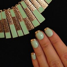 Matching mint and gold nails and necklace! My best nails by far!