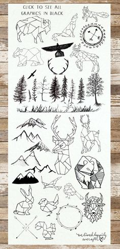 Love the geometric woodland animals! Check out these graphics for your next #stationery project.:
