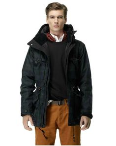 Club Monaco Military Snorkel Jacket -A blackwatch, waxed cotton, cinch waist, cargo pocket, military, snorkel jacket complete with corduroy collar and a quilted hood. Like a symphony of buzzwords for the young menswear set.
