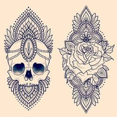 Inspiration for thigh tattoo *Similar design (left) *top of thigh~placement
