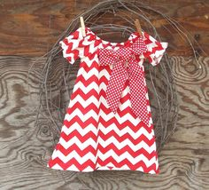 Girls Red Chevron  Dress Peasant Dress red dot by SouthernSister2, $25.00