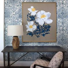 A gorgeous @lake.august print hanging over walls upholstered in our Deeg. See it in person @hollywoodathome !