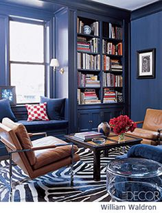 paint trim same as walls | Room painted deep blue
