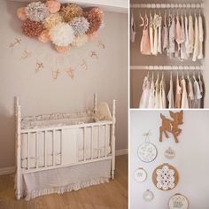 "Baby Rylee's Delicate Peach-and-Gray Nursery: It's almost impossible to look through the dreamy images of baby Rylee's Encinitas, CA, nursery and not feel soothed and relaxed. ""My idea for the room was to create a calming, dreamy space . . . infused with vintage finds, sweet little animals, and handmade details,"" says mom Kelli Murray, who is an illustrator, painter, and designer. Kelli used a muted shade of peachy pink against soft gray walls to set the tone for the delicate, feminine…"