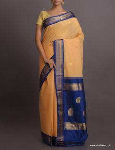Devika Sandalwood Cool #Blue Paisleys #GadwalCottonSaree