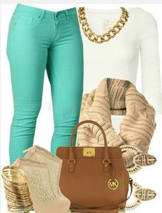 A fashion look from February 2013 featuring sleeve white t shirt, mint green skinny jeans and platform heel booties. Browse and shop related looks. Swag Outfits, Classy Outfits, Casual Outfits, Cute Outfits, Fashion Outfits, Womens Fashion, Swag Fashion, Fall Winter Outfits, Autumn Winter Fashion