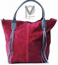 VERA PELLE Shopper 38cm Echtleder Schultertasche Luxus Bordeaux Rot Apropos