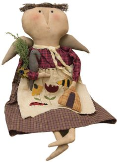 """Primitive Bea Doll - Lady Bea Doll is made of fabric and has an embroidered apron (that features a bee, ladybug, and flowers), twig hair, Sweet Annie and button accents. 23"""" H."""