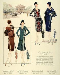 my vintage vogue 20s Fashion, Vogue Fashion, Fashion History, Retro Fashion, Vintage Fashion, Vintage Style, Fashion Illustration Sketches, Fashion Sketches, Fashion Images