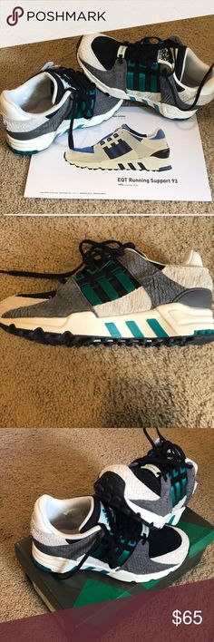 innovative design a7dd0 99500 Size adidas equipment running shoe in black, teal, gray and white. Great  detail on shoes! Adidas originals throwback to adidas Shoes Athletic Shoes