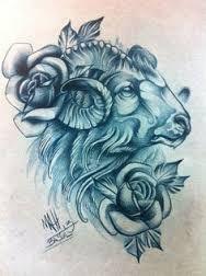 For thr aries Zodiac Tattoos, Body Tattoos, Sleeve Tattoos, Aries Ram Tattoo, Tatoo Art, Get A Tattoo, Lion Tattoo, Geometric Tattoo Ram, Tattoo Sketches